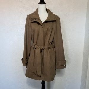 Calvin Klein belted taupe wool-blend coat